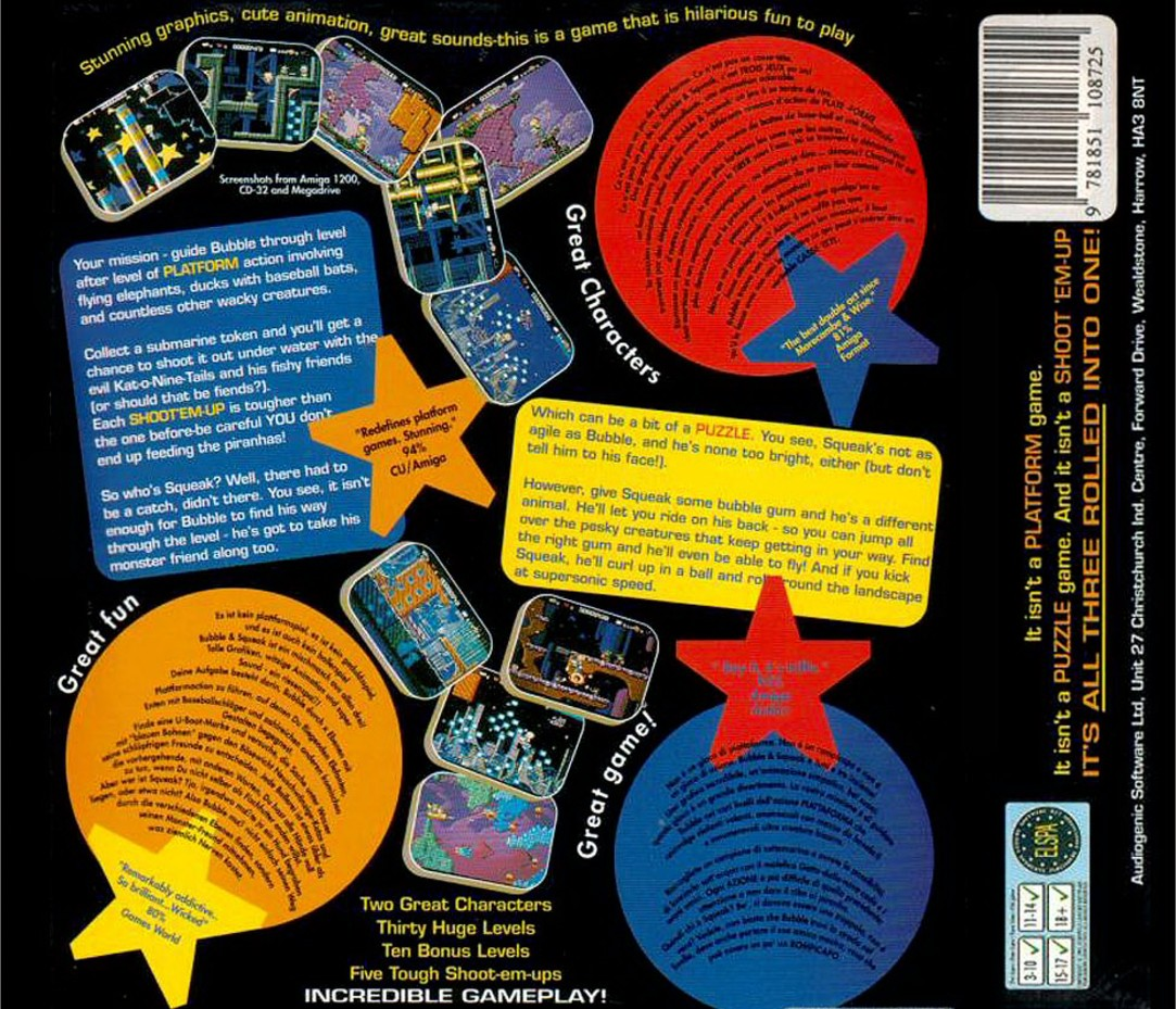 Back boxart of the game Bubble and Squeak on Amiga CD32