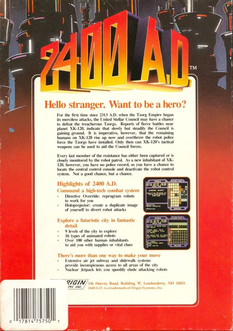 Back boxart of the game 2400 A.D. (United States) on Apple II