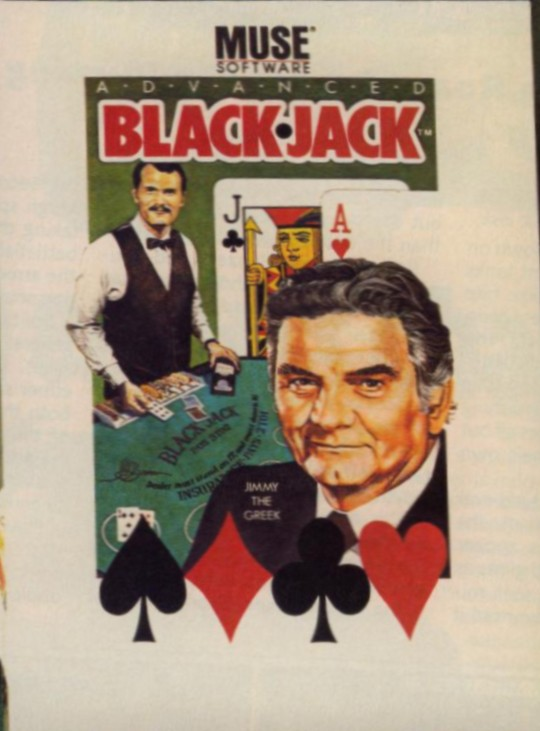 Front boxart of the game Advanced Blackjack (United States) on Apple II