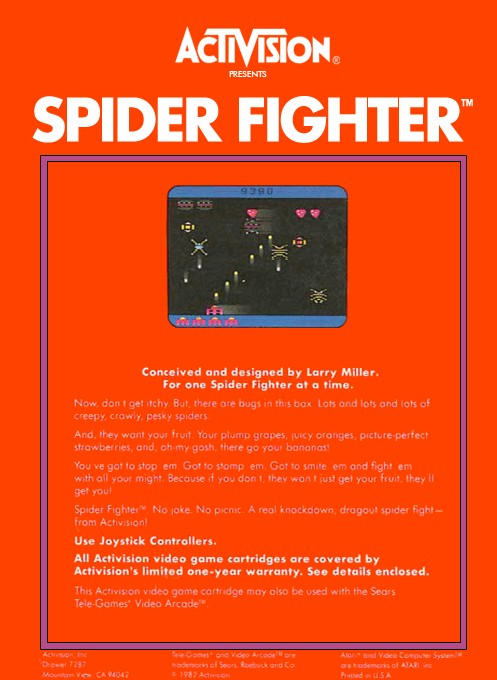 Back boxart of the game Spider Fighter (Europe) on Atari 2600