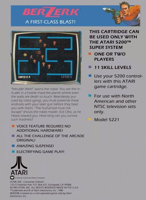 Back boxart of the game Berzerk (Europe) on Atari 5200