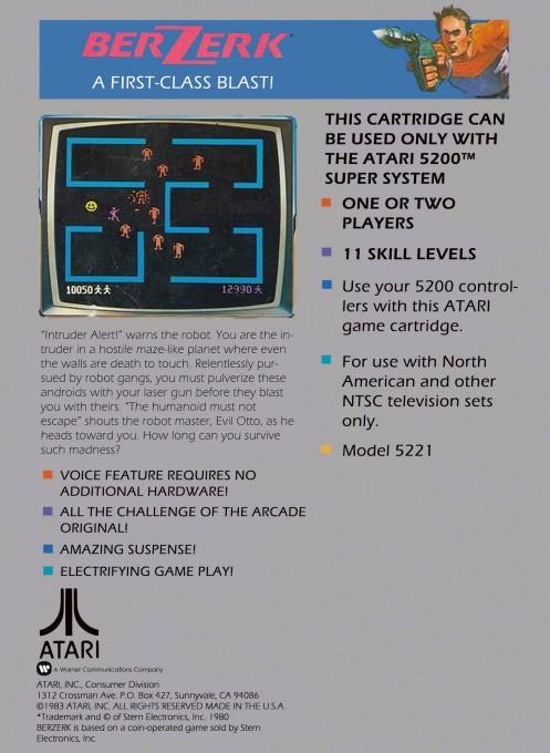 Back boxart of the game Berzerk (United States) on Atari 5200