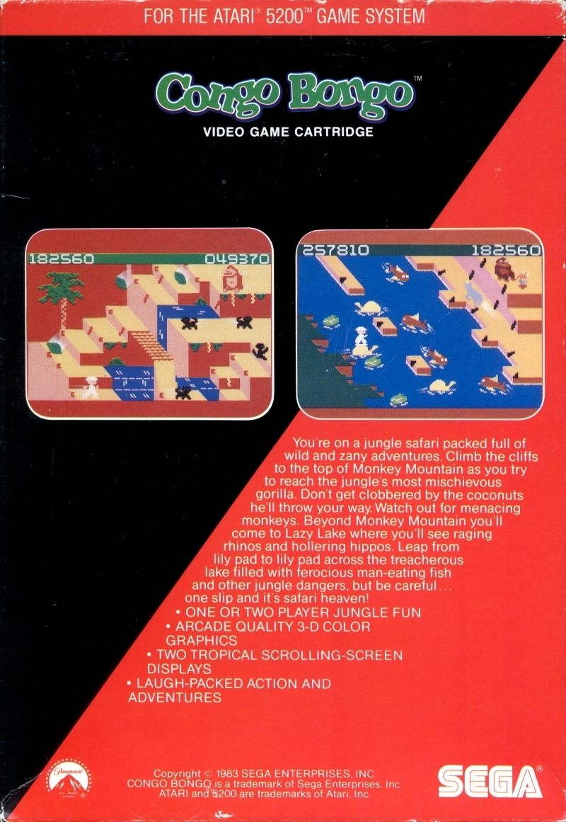 Back boxart of the game Congo Bongo (United States) on Atari 5200