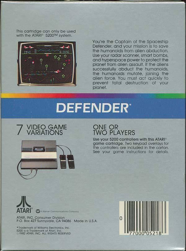 Back boxart of the game Defender (United States) on Atari 5200