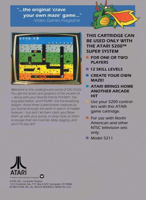 Back boxart of the game Dig Dug (United States) on Atari 5200