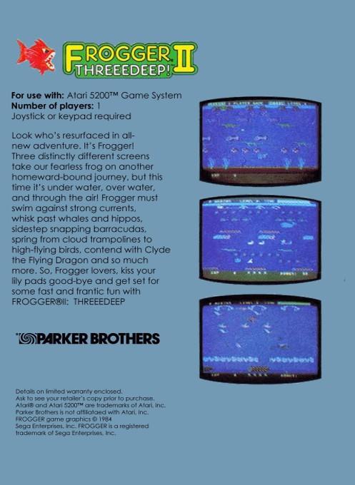 Back boxart of the game Frogger 2 - Threedeep! (Europe) on Atari 5200
