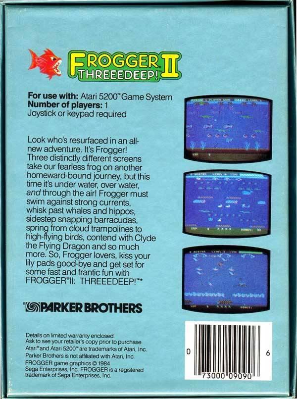 Back boxart of the game Frogger 2 - Threedeep! (United States) on Atari 5200
