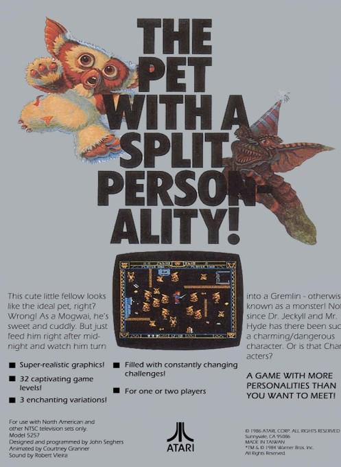 Back boxart of the game Gremlins (Europe) on Atari 5200