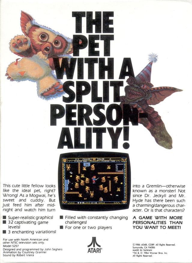 Back boxart of the game Gremlins (United States) on Atari 5200