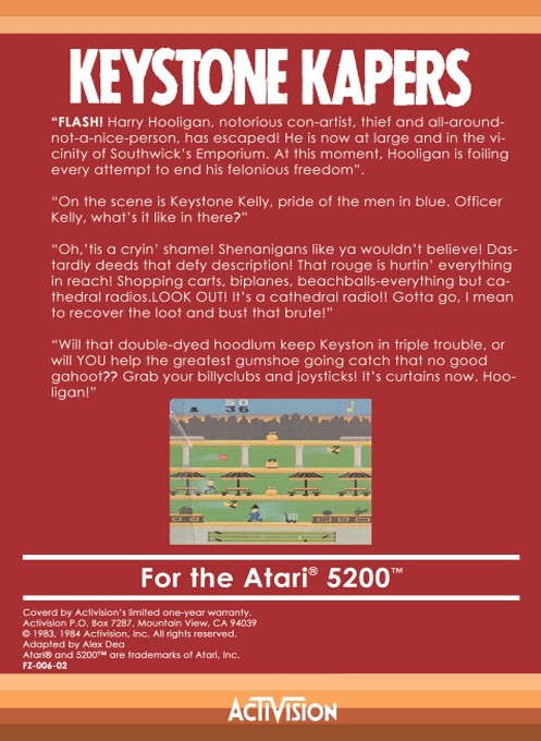 Back boxart of the game Keystone Kapers (Europe) on Atari 5200