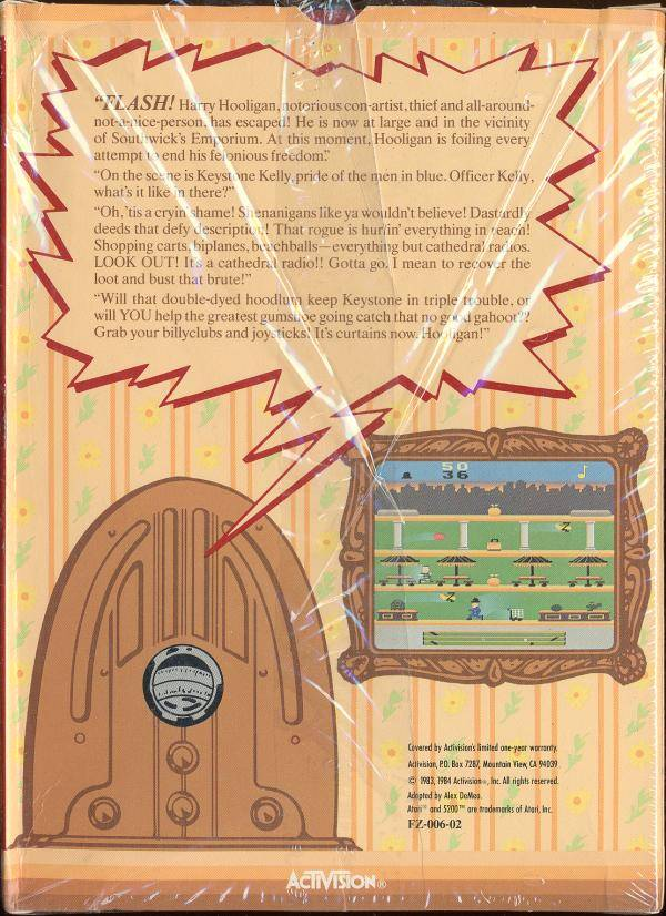 Back boxart of the game Keystone Kapers (United States) on Atari 5200