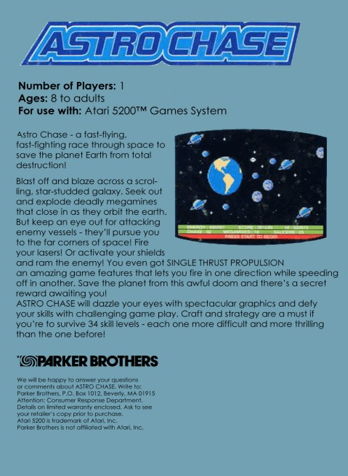 Back boxart of the game Astro Chase (Europe) on Atari 5200