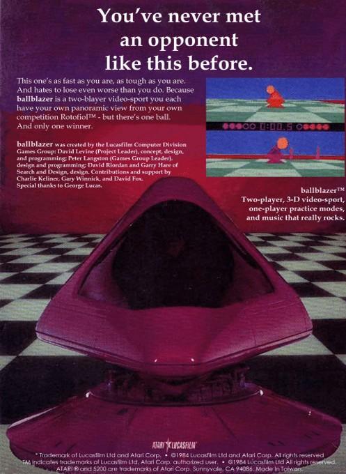 Back boxart of the game Ballblazer (Europe) on Atari 5200