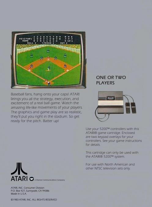 Back boxart of the game Barroom Baseball on Atari 5200