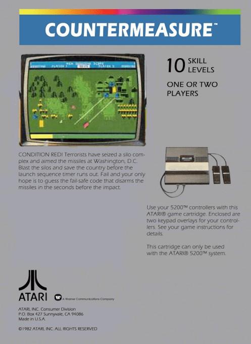 Back boxart of the game Countermeasure (Europe) on Atari 5200