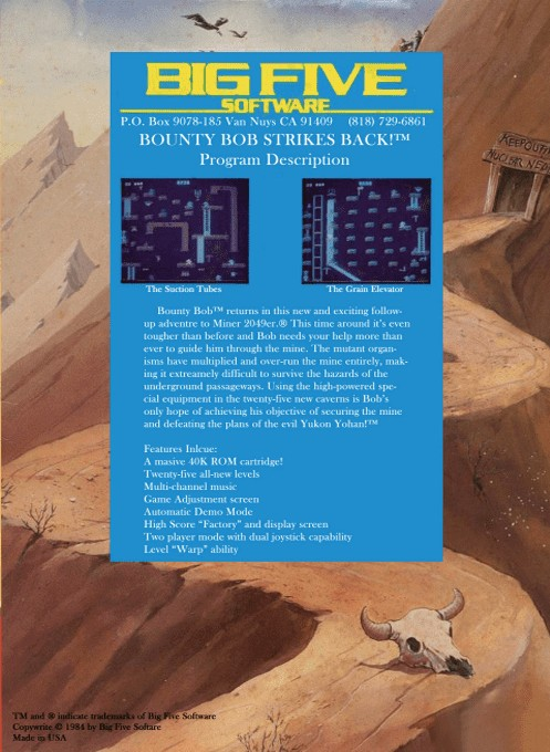 Back boxart of the game Bounty Bob Strikes Back (Europe) on Atari 5200