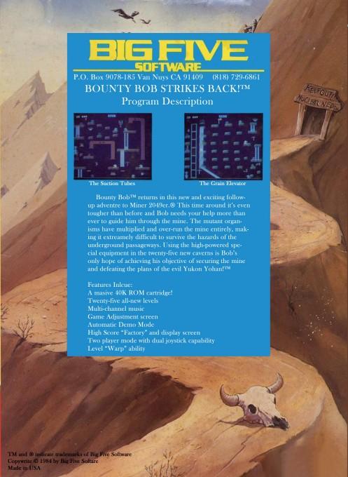 Back boxart of the game Bounty Bob Strikes Back (United States) on Atari 5200
