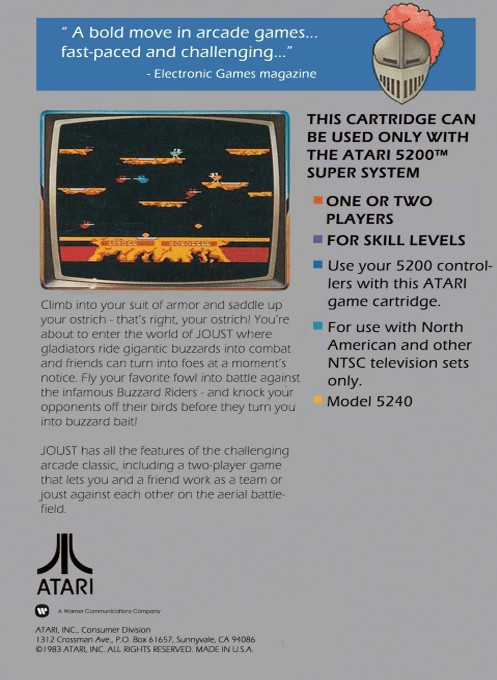 Back boxart of the game Joust (Europe) on Atari 5200