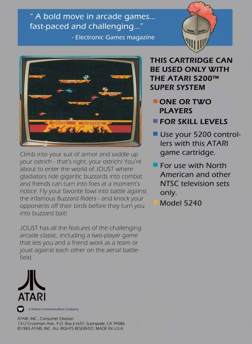 Back boxart of the game Joust (United States) on Atari 5200