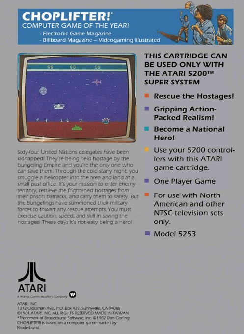 Back boxart of the game Choplifter (Europe) on Atari 5200