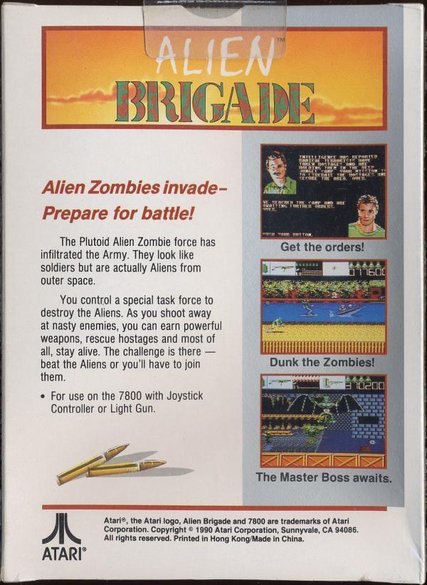 Back boxart of the game Alien Brigade (United States) on Atari 7800