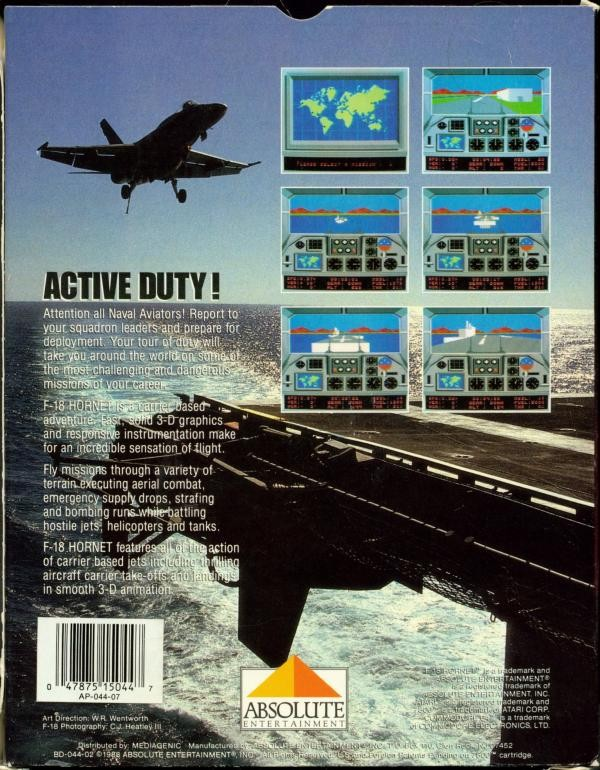 Back boxart of the game F-18 Hornet (United States) on Atari 7800