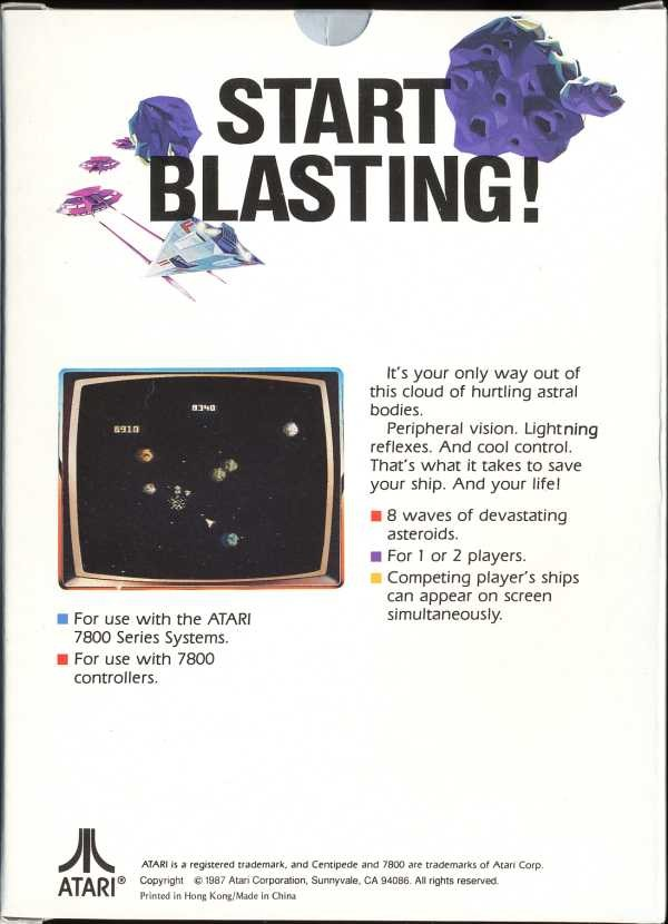 Back boxart of the game Asteroids (United States) on Atari 7800