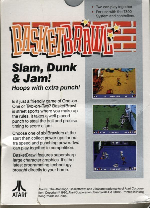 Back boxart of the game Basketbrawl (United States) on Atari 7800