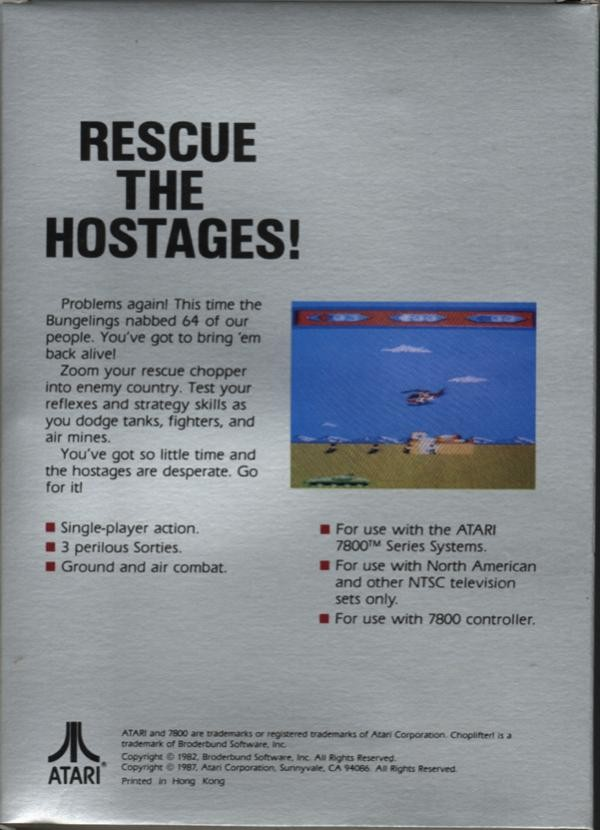 Back boxart of the game Choplifter (United States) on Atari 7800