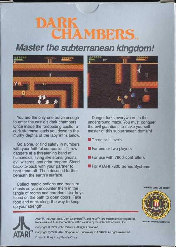 Back boxart of the game Dark Chambers (United States) on Atari 7800