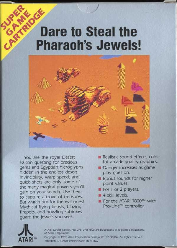 Back boxart of the game Desert Falcon (United States) on Atari 7800