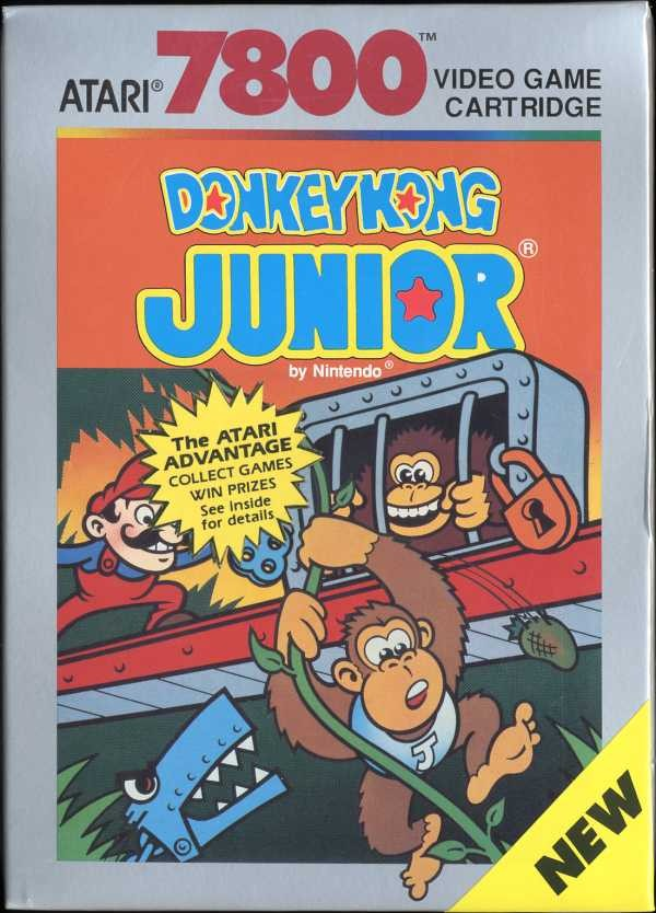 Front boxart of the game Donkey Kong Jr (United States) on Atari 7800