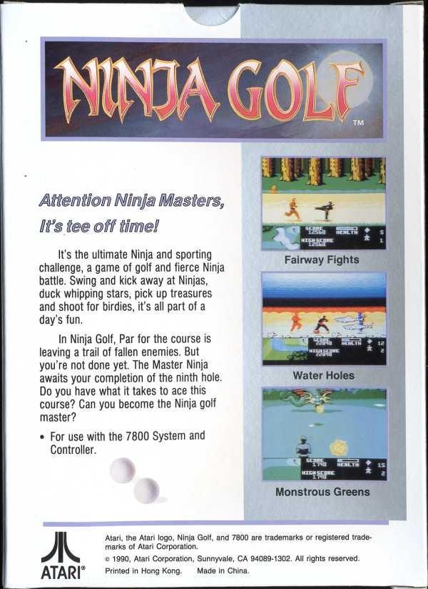 Back boxart of the game Ninja Golf (United States) on Atari 7800