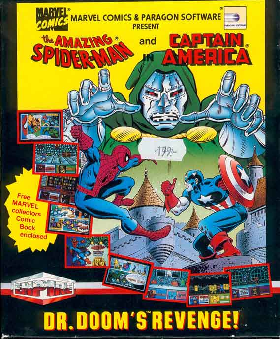 Front boxart of the game Amazing Spider-Man, The and Captain America in Doctor Doom's Revenge! on Atari ST