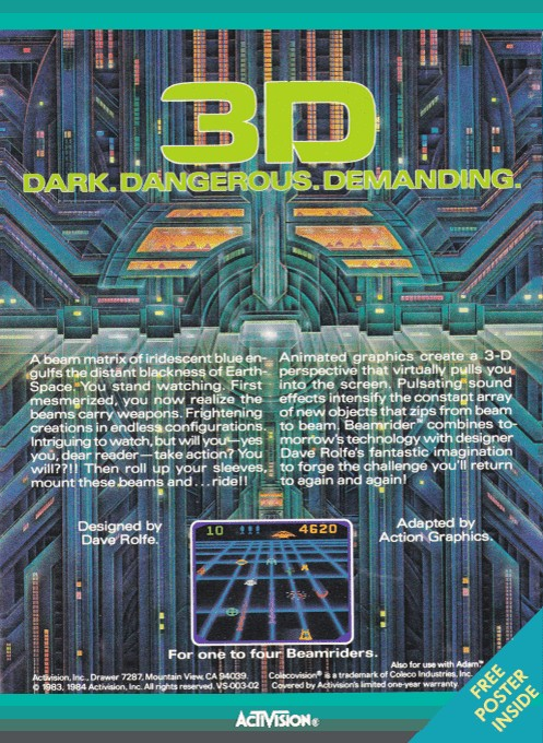 Back boxart of the game Beamrider (United States) on Coleco Industries Colecovision