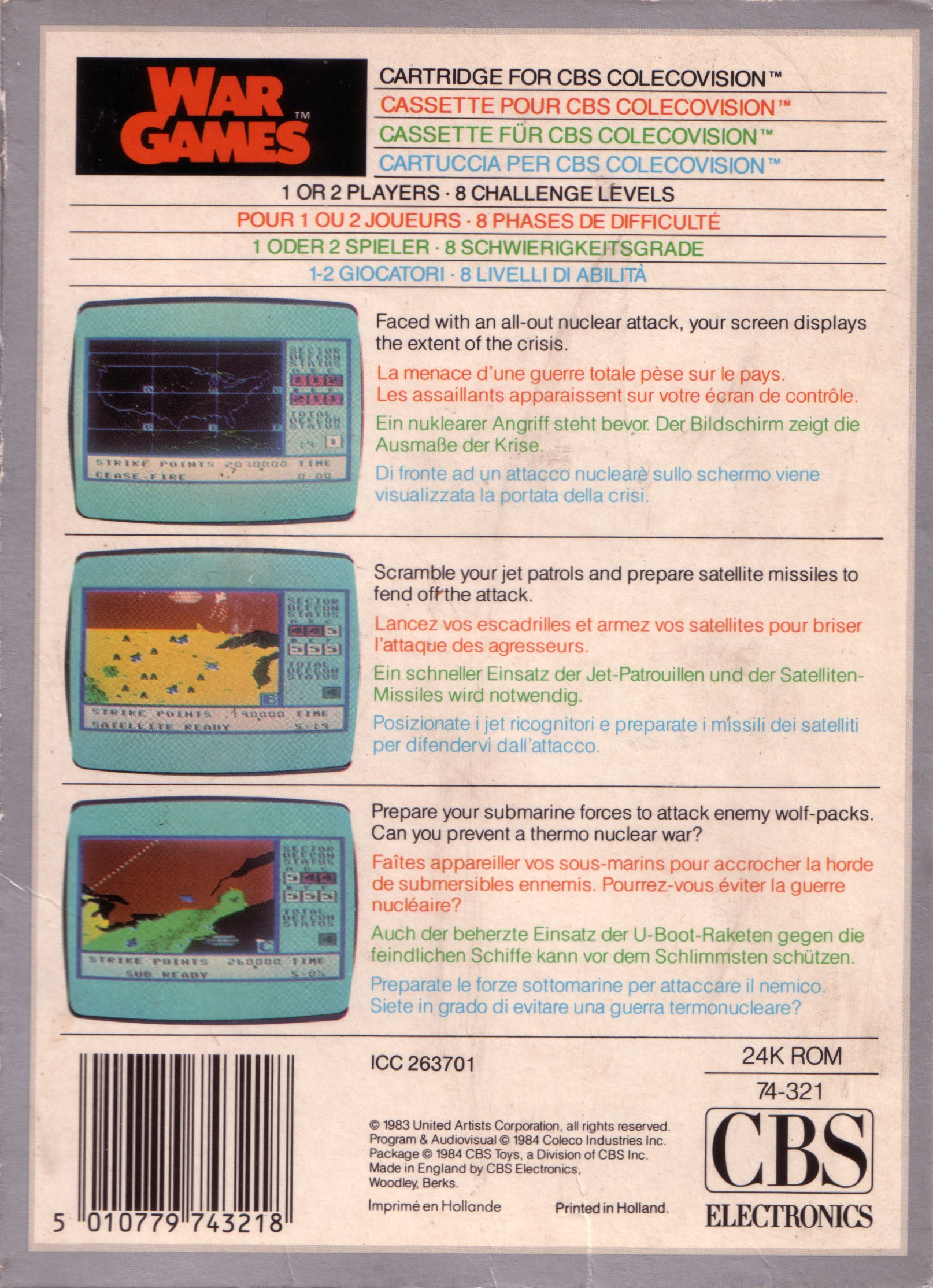 Back boxart of the game War Games (Europe) on Coleco Industries Colecovision