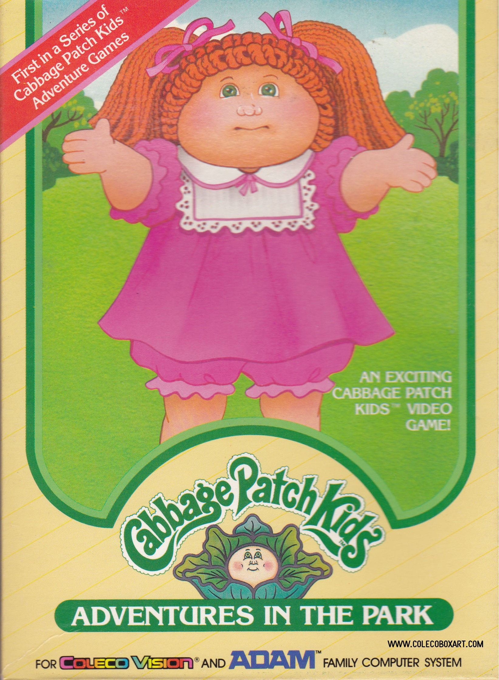 Front boxart of the game Cabbage Patch Kids - Adventures in the Park (United States) on Coleco Industries Colecovision