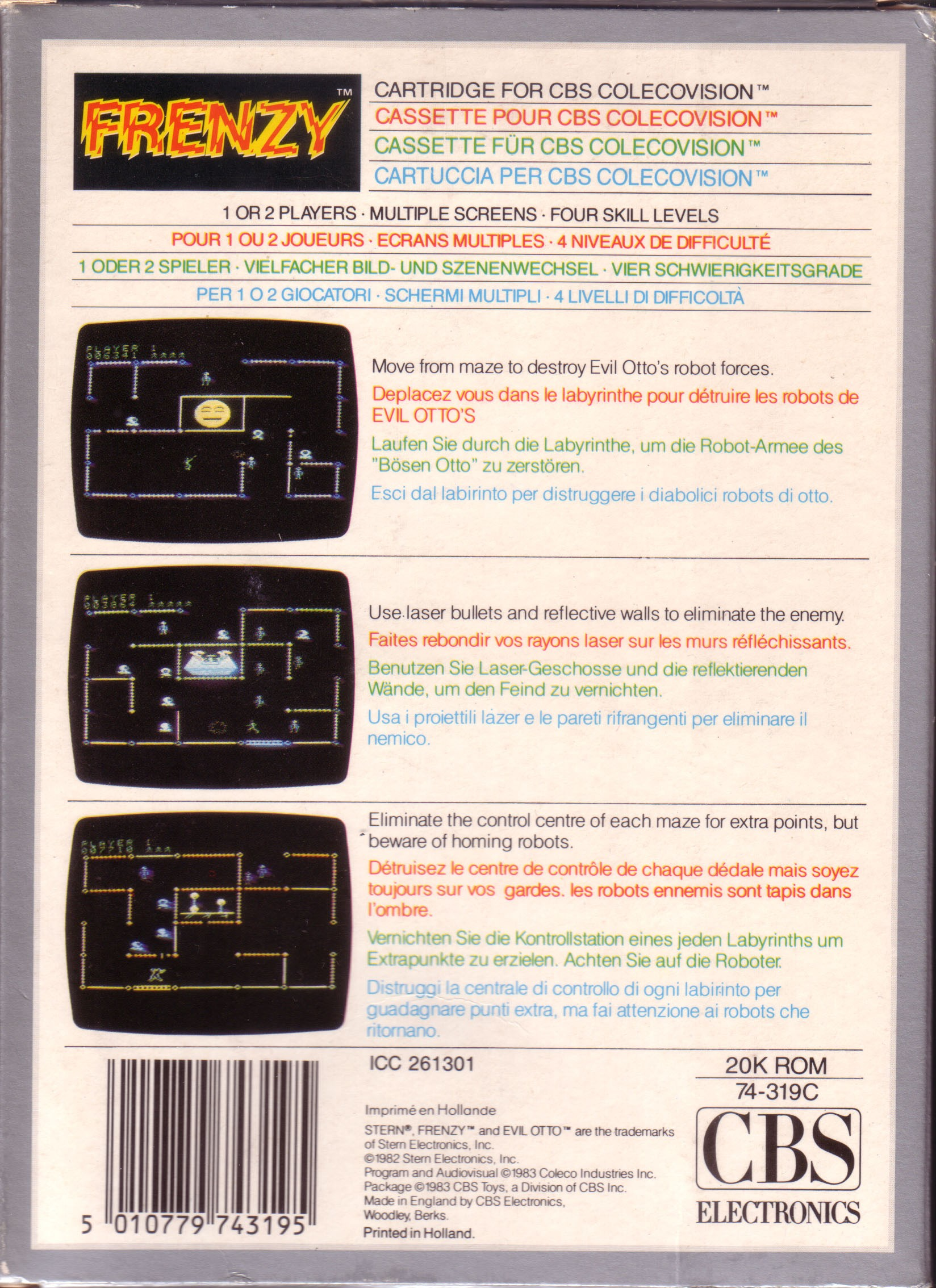 Back boxart of the game Frenzy! (Europe) on Coleco Industries Colecovision