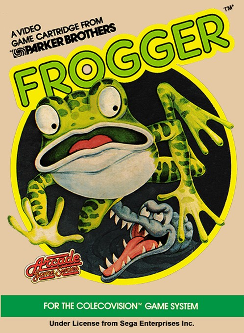 Front boxart of the game Frogger (United States) on Coleco Industries Colecovision