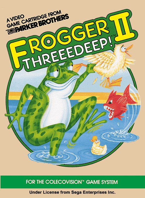 Front boxart of the game Frogger II - ThreeDeep! (United States) on Coleco Industries Colecovision