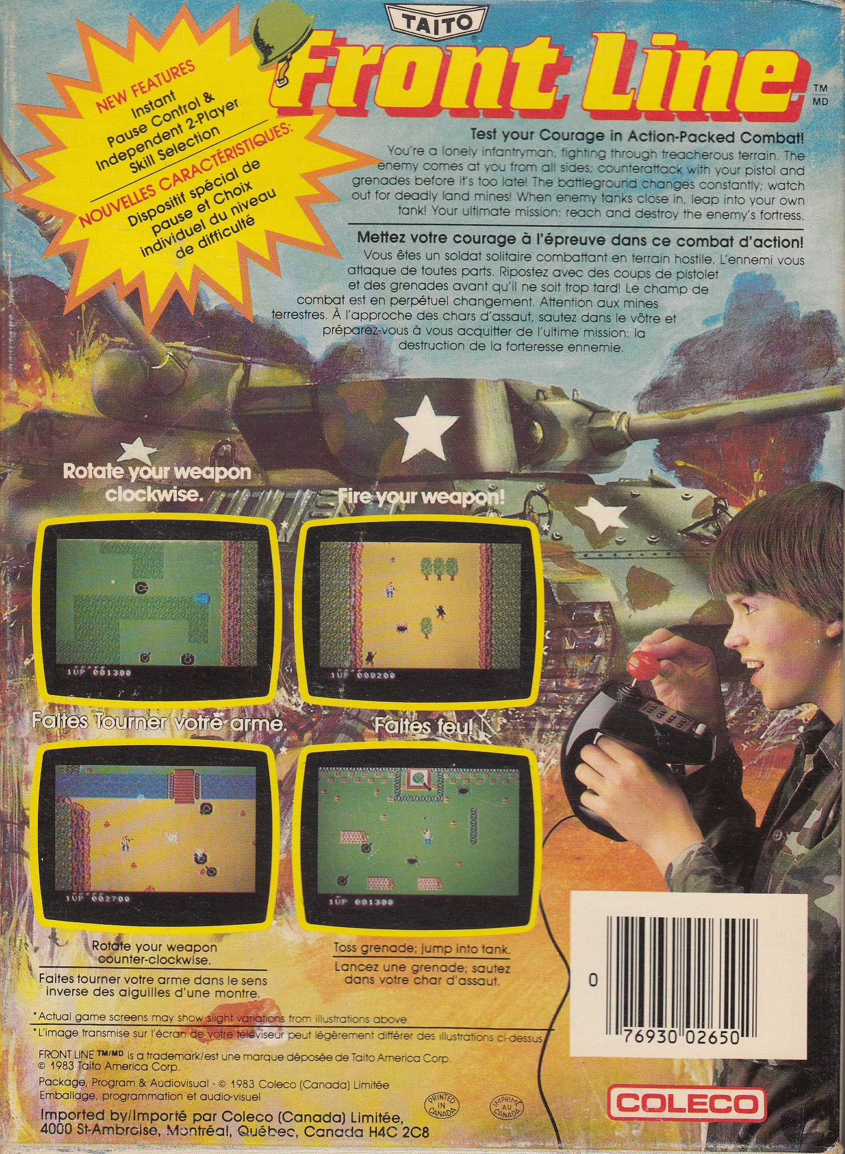 Back boxart of the game Frontline (Canada) on Coleco Industries Colecovision