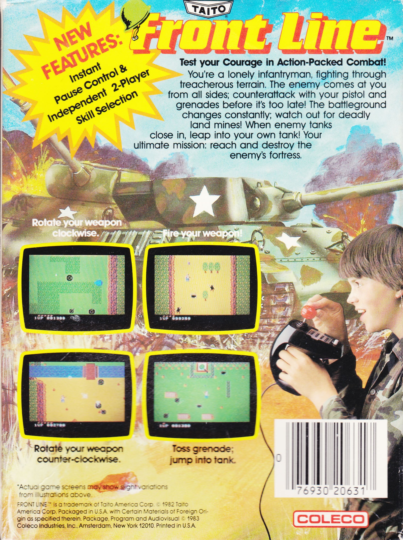 Back boxart of the game Frontline (United States) on Coleco Industries Colecovision