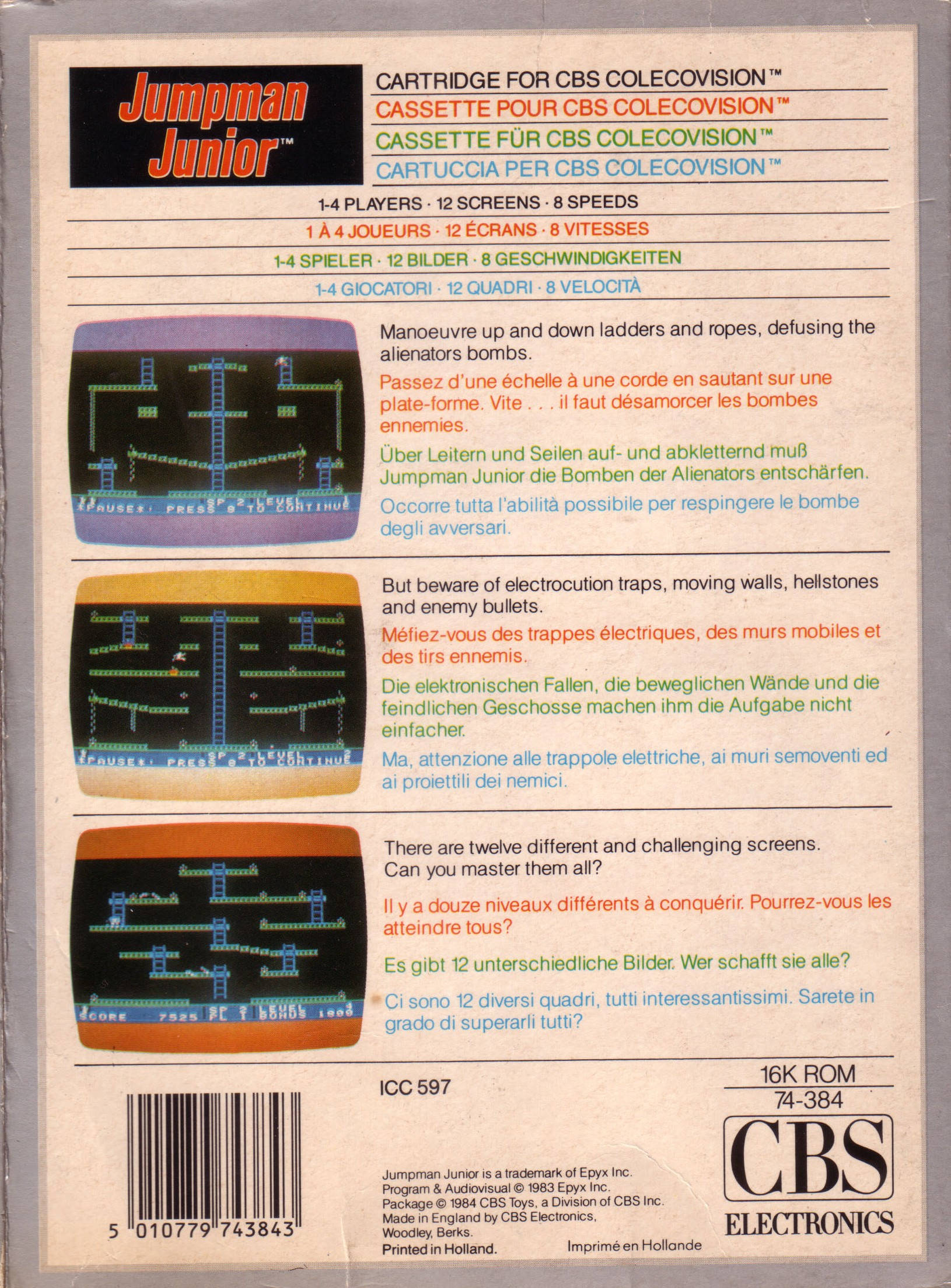 Back boxart of the game Jumpman Junior (Europe) on Coleco Industries Colecovision