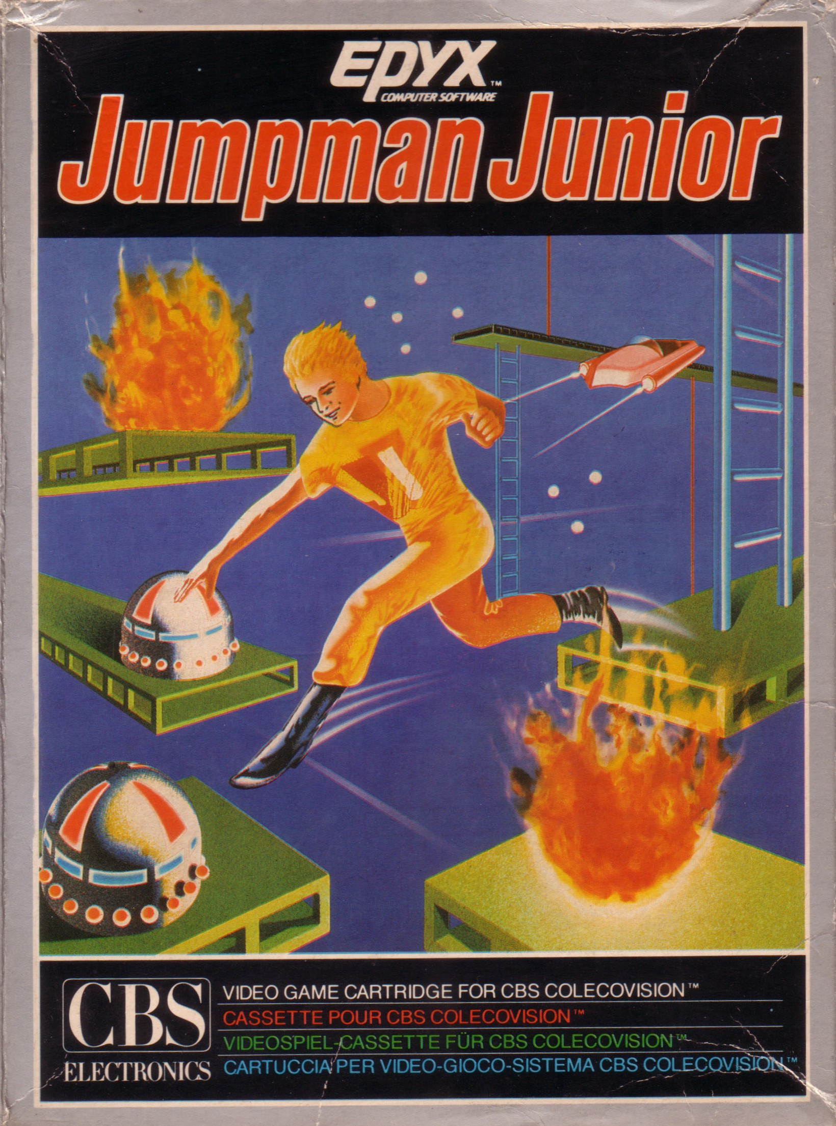 Front boxart of the game Jumpman Junior (Europe) on Coleco Industries Colecovision