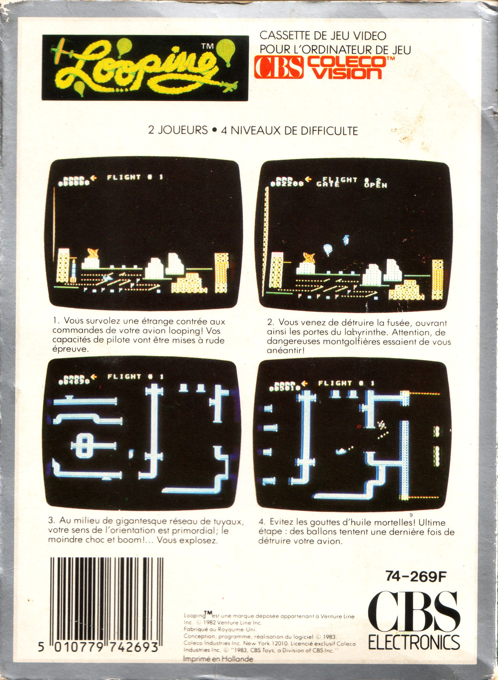 Back boxart of the game Looping (France) on Coleco Industries Colecovision