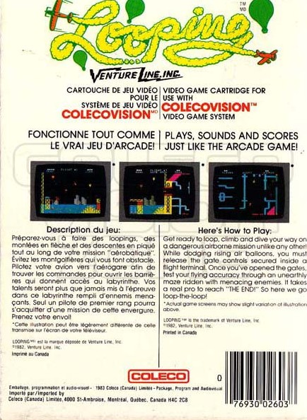 Back boxart of the game Looping (United States) on Coleco Industries Colecovision