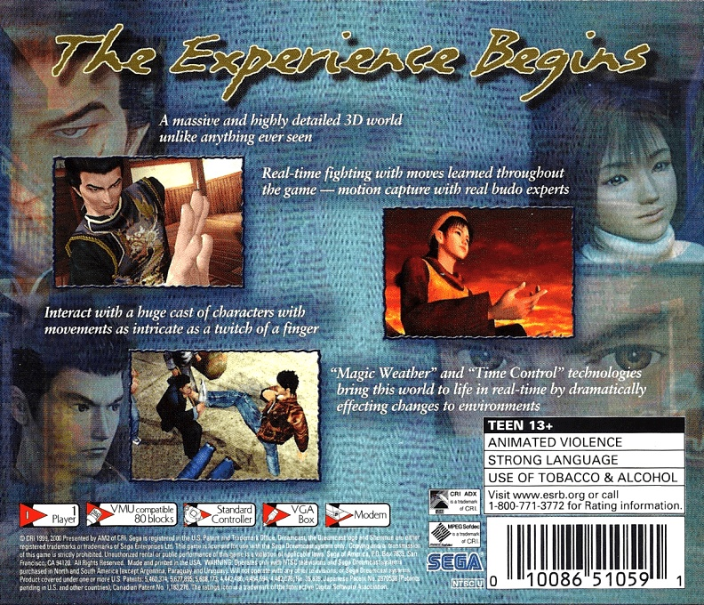 Back boxart of the game Shenmue (United States) on Sega Dreamcast