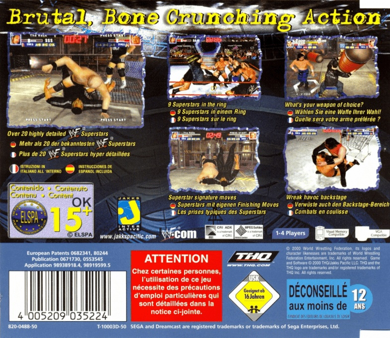 Back boxart of the game WWF Royal Rumble (Europe) on Sega Dreamcast