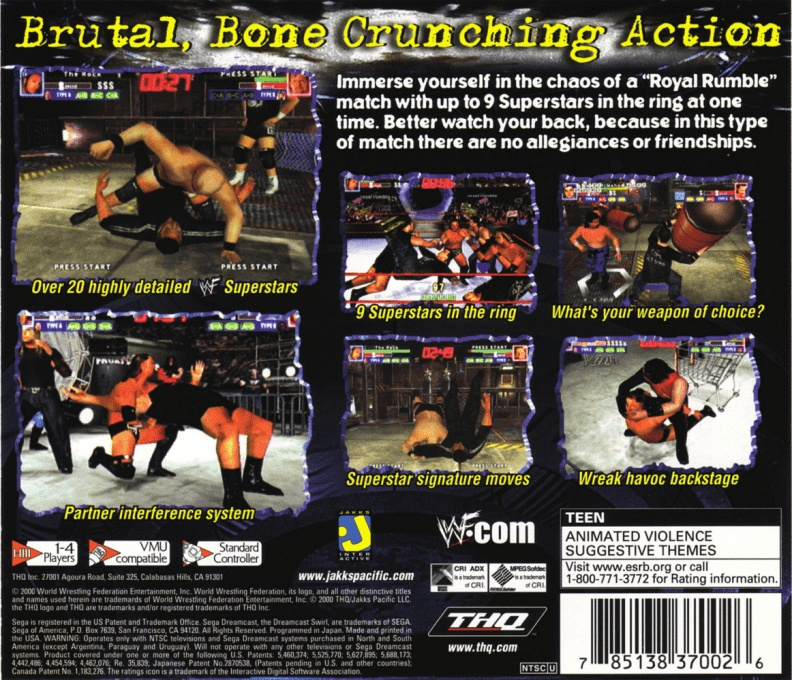 Back boxart of the game WWF Royal Rumble (United States) on Sega Dreamcast