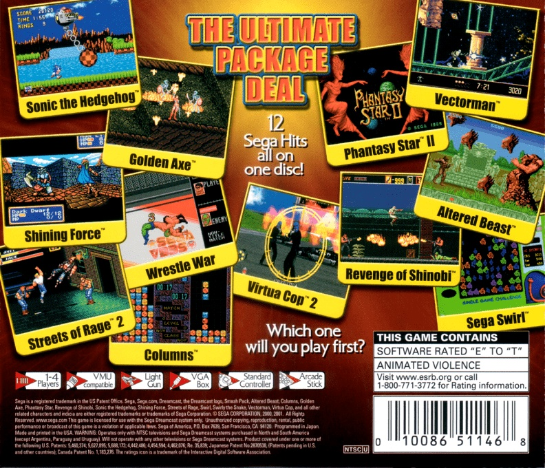 Back boxart of the game Sega Smash Pack - Volume 1 (United States) on Sega Dreamcast